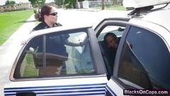 Busty cops abusing black stud outdoors riding