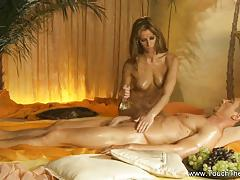 Sexy babe giving sensual massage