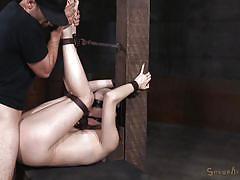 Hard fucking in creative bondage