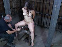 milf, bdsm, deepthroat, domination, busty, cage, device bondage, metal bondage, fire, infernal restraints, charlotte vale