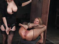 milf, blonde, anal, bdsm, strapon, big tits, mistress, fishnet stockings, device bondage, real time bondage, cherry torn, rain degrey
