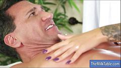Sexy blonde masseuse madelyn monroe blowjobs under the table