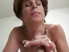 Raunchy mom sucks and rides on a younger stud s fat dick