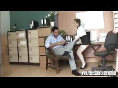 Horny blonde slut fucks office hunk on desk with hot young pa babe watching