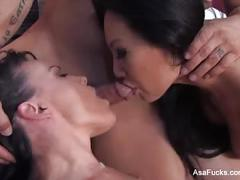 Asa akira and dana dearmond team up for a hot threesome with derek