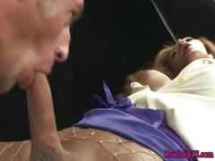 Busty trans cums with a hard cock in her ass