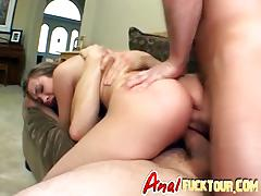Dirty brunette slut horny as hell gets her pussy and ass double penetrated