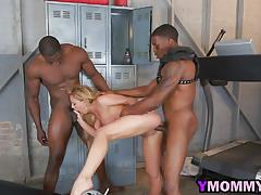 Fantastic milf bitch cherie deville banged hard by two muscular black guys