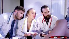 anal, brunette, doctor, babe, fucking, sucking