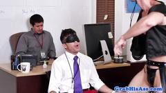 Office stud spitroasts in threeway before cum