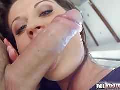 Pussy banged creampied for incredible brunette