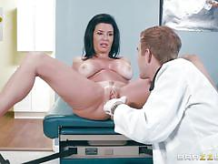 Horny doctor examines firm boobs and wet pussy