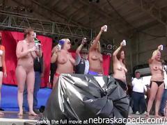 Fucking hot ass biker teen babes stripping nude in iowa summer sun