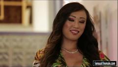 Sexy shemale venus lux fucked busty blond woman on the couch