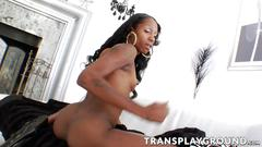 Slutty ebony tbabe jerking her cock and showing sexy ass