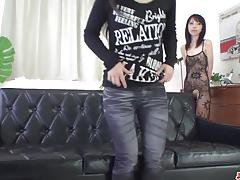 Asian brunette gets her pussy fingered