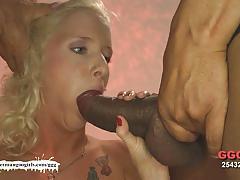 Blonde sucking cock in threesome