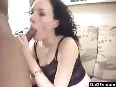Brunette's first black dick
