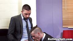 Inked british twunk tapping ass in the office