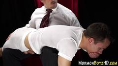 Mormon gets ass spanked handjob
