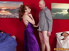 Naughty redhead milf shares her tactics