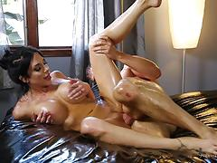 jaclyn taylor, blowjob, cumshot, slippery, oil, massage, lube, lubricant, oiled ass, oiled up, massaging
