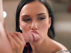 Seductive babe stuffs her mouth with cock
