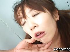 Asian brunette throat fucks this hard dick