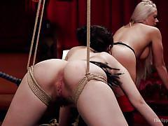 milf, threesome, bdsm, big ass, big tits, babe, orgy, pussy licking, from behind, mouth gag, the upper floor, kink, holly heart, karlo karrera, yhivi