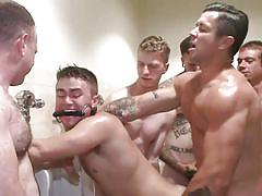 sex slave, tattooed, fucking machine, mouth gag, bdsm, group sex, anal, from behind, public toilet, bound in public, kink men, trenton ducati, jimmy bullet, leo sweetwood
