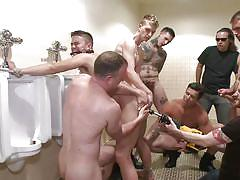 He was brutally fucked in a public toilet
