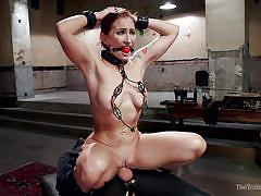 bdsm, babe, redhead, from behind, cock riding, chains, ball gag, nipple clamps, leather mask, slave training, the training of o, kink, owen gray, sophia locke