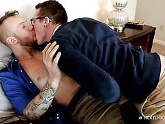 tattooed, blowjob, glasses, kissing, ball sucking, next door twink, next door world, damien michaels, jackson cooper