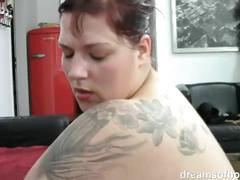 German bbw jill riding a huge long black dildo