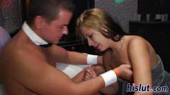 Hot babes suck dicks in an orgy
