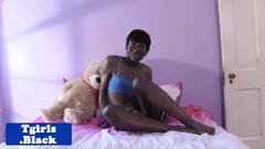 Black trans babe spreading ass before jerking