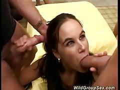 German amateur sucking cock in orgy