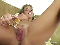 Big titted amateur toys with glass dildo