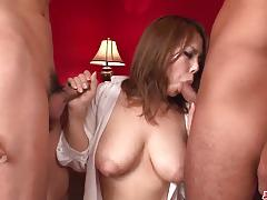 blowjob, big tits, busty, creampie, fingering, threesome, cock sucking, mmf