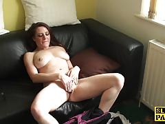 Naughty babe plays with her moist pussy