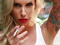 brooke brand, hardcore, big tits, tattoo, blonde, milf, outdoor, masturbation, pornstar, solo, outdoors, mom, mother, big boobs, fetish, smoking, cigarette, outside, tattoos, masturbate