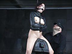 Leather straitjacket for naughty nikki