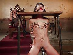 bdsm, lesbians, babe, interracial, whipping, domination, vibrator, ball gag, clothespins, device bondage, whipped ass, kink, mona wales, vivi marie