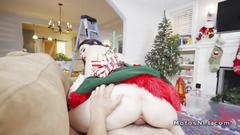 Elf girlfriend fucks big cock bf on xmas