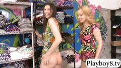 Blonde and brunette babes fucked hard in clothing store