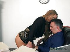 Hot secretary nicole aniston blows big cock of boss