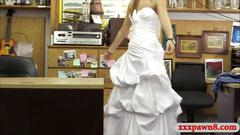 Hot blonde babe wears her wedding dress and fucked hard