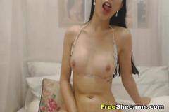 Sexy hot shemale jerking off hard on cam