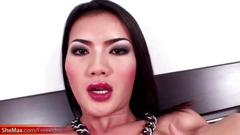 Asian femboy with big boobs jerks off and jizzes her hands