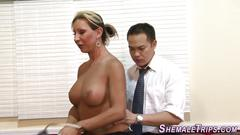 Shemale gets cock spunked